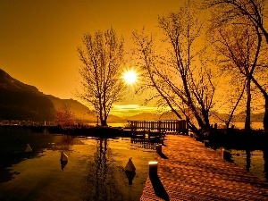 viewes, Harbour, lake, west, trees, sun, pier