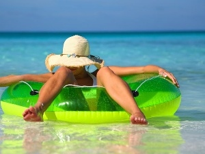 Hat, circle, water, relaxation, Women