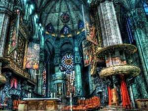 HDR, chair, altar, stained glass