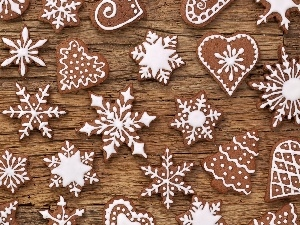 heart, Christmas, Stars, glace, Christmas, Gingerbread