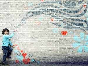 heart, wall, Kid, Drawing