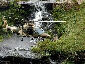 rocks, Helicopter, waterfall