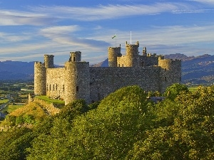 Hill, wales, Castle, cliff, Harlech
