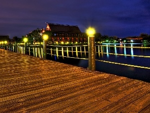 pier, house, illuminated