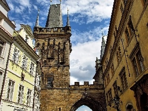 Houses, Monument, Prague, Charles Bridge