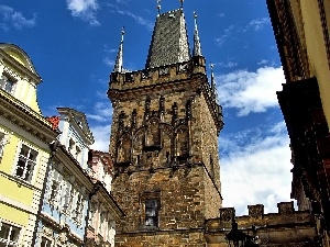 Houses, tower, Prague, Sights, Charles Bridge