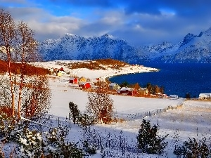 Houses, Red, winter, Norway, Mountains
