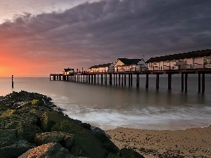 Houses, sea, Beaches, west, pier, sun