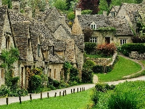 Plants, Houses, Stone, Bibury, lawns, Arlington, row
