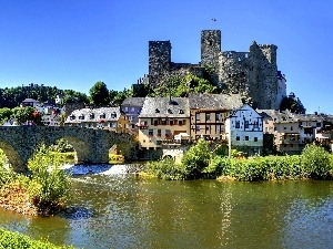 Houses, Castle, River, bridge