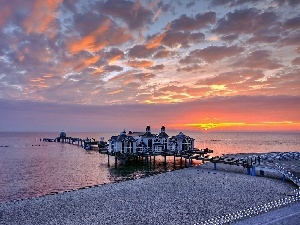 Houses, Platform, sea, Great Sunsets, Beaches