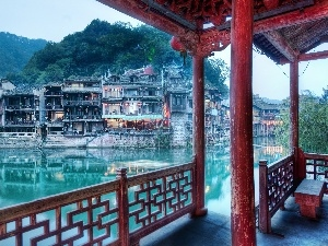 Feng Huang, old, Town, Houses, China, River