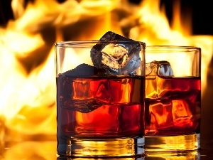 ice, knuckle, Glass, Flames, Whisky