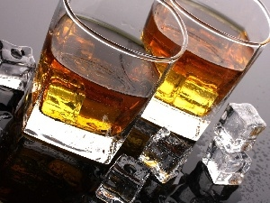 ice, knuckle, glasses, Whisky