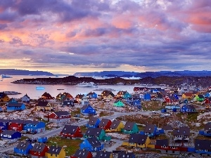 Ilulissat, Town, color, Greenland, Houses