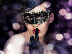 Handglove, In Mask, black, Beauty, lights, Women