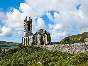 Ireland, clouds, Church, White