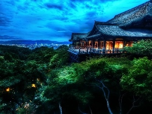 Japan, Kyoto, Hill, temple