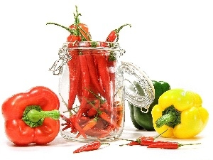 jar, Chilli, different, peppers