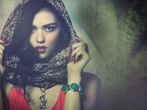 jewellery, make-up, Mysterious, shawl, girl