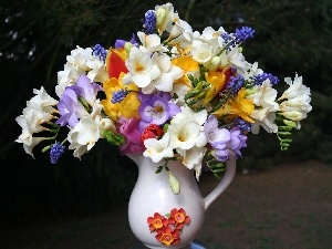 jug, White, bouquet, freesia
