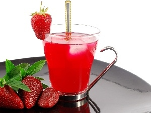 cup, juice, strawberries