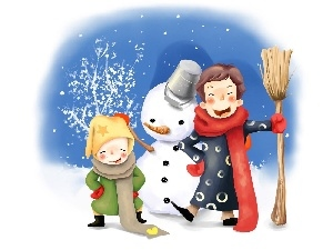 Kids, Snowman, winter, snow