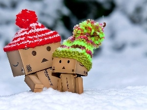 knitted, Danbo, winter, caps, snow