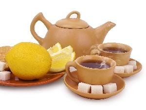 knuckle, Lemon, tea, jug, sugar, cups