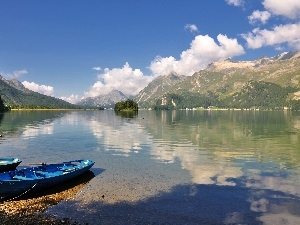 boats, lake, clouds, Islet, Segl, maria, reflection, Mountains