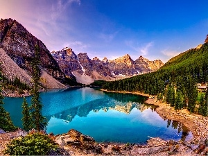 lake, Softwood, Mountains, woods