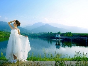 lake, dress, Women, Mountains, White