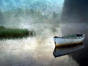 lake, Boat, painting, rushes, picture