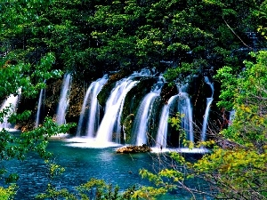 lake, viewes, waterfalls, trees
