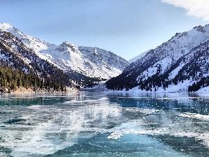 winter, lake, Mountains