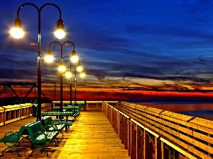 Lamps, illuminated, pier, bench