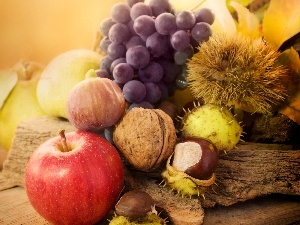 autumn, Leaf, chestnuts, apples, composition, Grapes, nuts