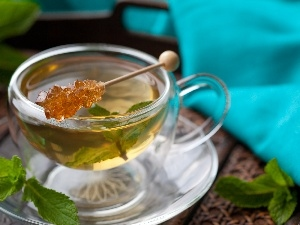 leaves, cup, tea, mint, honey