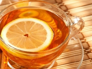 Lemon, tea, cup, cinnamon, plate