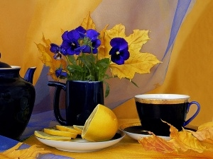 lemon, pansies, tea, teapot