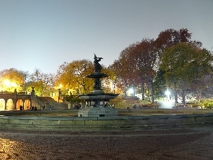 light, Night, fountain, Park