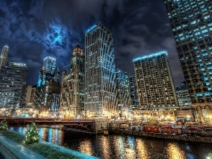 night, light, Chicago