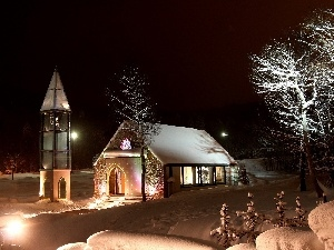 light, viewes, Church, snow, trees