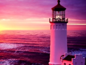 Lighthouse, sun, sea, maritime, west