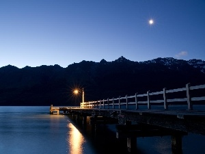 Lighthouse, Platform, lake, moon, Mountains