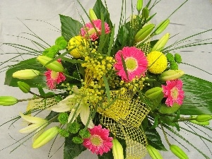 lilies, gerberas, color, bouquet