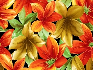 lilies, texture, Different colored