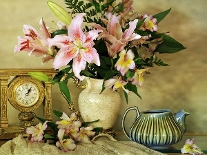 Tiger lily, bouquet, jug, Clock