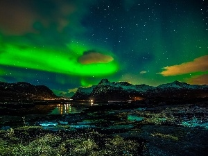 Lofoten, aurora polaris, Mountains, Norway, sea