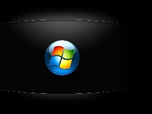 logo, screen, windows, Black